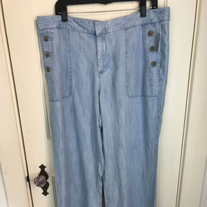 GAP Wide Leg Chambray Pants Sailor Boho Theme